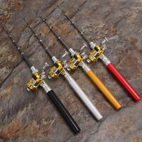 Tragbar Kombo Mini Tasche Stift Angelrute Mit Golden Baitcast Rolle Set