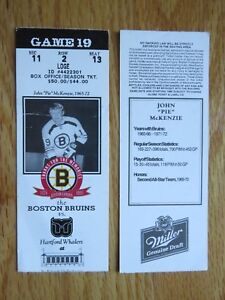 "Game 19 JOHN ""PIE"" McKENZIE Last Season BOSTON BRUINS 1994 TICKET Boston Garden"
