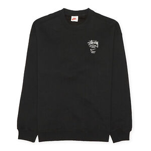 Nike x Stussy International Crewneck Fleece Sweatshirt, Size XL, Black