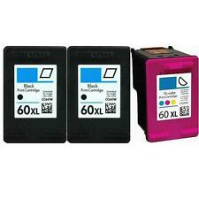 3 Pack 60XL Ink Cartridge Combo For HP 60 Photosmart D110a F2480 F2430 Printers