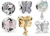 925 Sterling Silver Charms Butterfly Flower Dangle Fit Bead Charms Bracelets