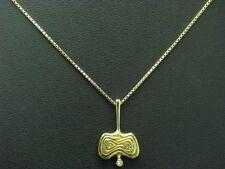 14kt 585 GELB GOLD KETTE & ANHÄNGER MIT 0,01ct DIAMANT BESATZ / 3,2g / 38,0 cm