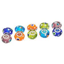 1 evil eye glass charm bead - polka dots European lampwork various colours