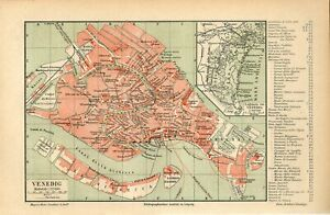 1887 ITALY VENICE VENEZIA CITY PLAN Antique Map