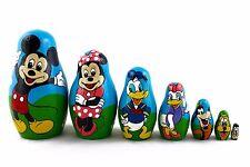 Matryoshka Russian Nesting Doll Wooden Babushka Cartoon Mickey Mouse Set 7 Pс