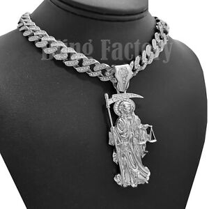 2 3//8 inch Sterling Silver Santa Muerte Necklace for Men Diamond Cut 18-30 inch Chain
