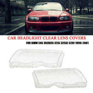 2x Car Headlight Clear Lens Covers 4D For BMW E46 3Series 325i 325xi 328i 99-01