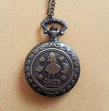 Alice in wonderland Clock Necklace Pocket Watch Antique Style Pendant Vintage