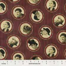 WIZARD of OZ Under the Rainbow Dark Red Cameo OOP Fabric By the FQ - 1/4 YD