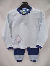 BNWT Boy Sz 5/6 Long Style Blue/Stripes Robot Print Comfy Pyjama Set