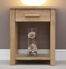 Nero solid oak furniture side end lamp table with felt pads