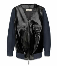 MARNI H&M HM BLUE BLACK PATENT LEATHER KNITTED JACKET UK 16 / US 12 / EU 42 BNWT