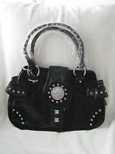 Women's Black Lion Clasp Handbag Purse Dual Strap Cheetah Strip Print NEW NWT