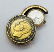 Sidney Rubeck Vintage Elizabeth Regina Britch Coin Travel Watch Clock