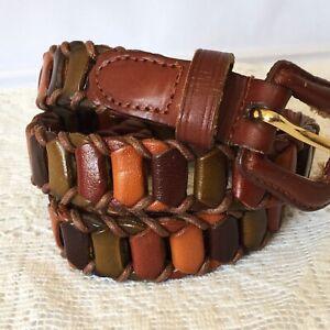 Vintage Women's Brown Leather Belt Size Medium Coloured Retro Boho Hippie