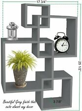 Greenco 4 Cube Intersecting Wall Mounted Floating Shelves Gray Finish Home Decor