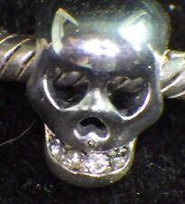 UNBRANDED 925 ST SILVER HUMAN SKULL, CZ TEETH, BONES GOTHIC European Charm Bead