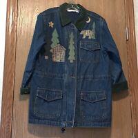 Womens Size Medium Vintage Winter Themed Jacket Christopher & Banks Euc E1200