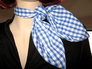 Check Neck Head Tie Blue White Red Rockabilly Scarf Fancy Dress Cosplay beach