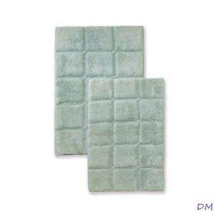 2-Pc Sage Green Superior Luxurious Cotton Checkered Non-Skid Bath Rug Set