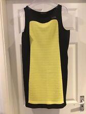 """MAKIS TSELIOS"":SLEEVELESS, BLACK +YELLOW SHEATH DRESS  (Size XL?) UK 14: BNWOTs"