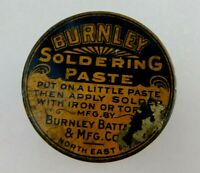 Burnley Soldering Paste Tin Collectible Vintage Burnley & Battery MFG Co. PA