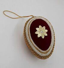 Vintage velvet, ribbon  and beads egg shaped ornament