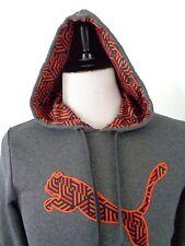PUMA Dry Cell Small Hoodie Sweatshirt Pullover Gray Orange Big Logo Poly *FLAW*