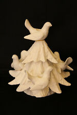 Fitz And Floyd White Porcelain Tree With Doves Taper Candle Holder Christmas