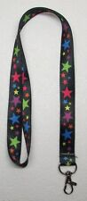 Black with Multi Color STARS LANYARD KEY CHAIN Ring Keychain ID Holder NEW