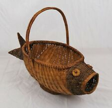 Vintage Fish Shaped Hand Woven Basket With Handle Large Mouth Bass
