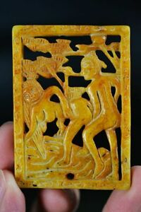 Exquisite Chinese Old Jade Hand Carved *Man&Woman* Pendant H72