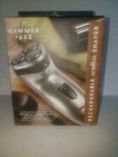 HAMMER & AXE Men's Cordless~RECHARGEABLE SHAVER ~ Flip-Up Trimmer~3 Heads ~ NIP