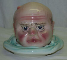 Antique St Clement French Majolica Figural Head Cheese Serving Dish Tobacco Jar