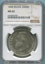 1888 Brazil 2000 Reis. NGC MS62