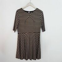 BAR III Women's Striped Short Sleeve Keyhole Back Dress Size Large Tan Black
