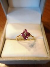 Vintage Estate 14k Yellow Gold Ruby & Diamond Cluster Ring Size 6.25 (61)