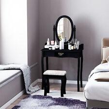 Wooden Vanity Dressing Table Makeup Set w/ Stool Mirror Home Furniture