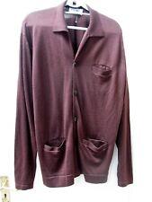 Vtg Lea Mills John Smedley Long Brown Cardigan XL Plus Size Pure Wool Land Girl