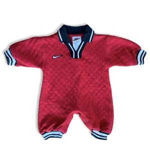 Vintage Nike Infant 3-6 Month Boys Romper Soccer Red Black White Cuffed Vtg