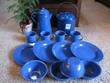 Blue Speckled Enamel COOKWARE Camping Dishes SET 16-Piece COLEMAN? Coffee Pot