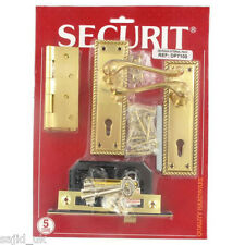 Securit dp7100 Ottone Georgiano Esterna Sul Davanti Back Door Lock Cerniera & Maniglia Set