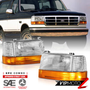 [FACTORY STYLE 6PC] For 1992-1996 Ford Bronco F150 F250 F350 Headlight Assembly