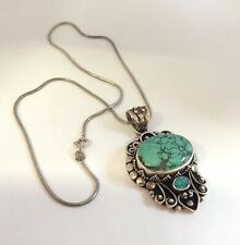 Large Sterling Silver Turquoise And Opal Pendant