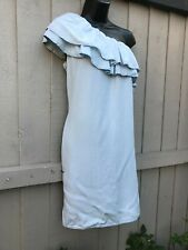 New loon very pretty denim dress size 10/12  casual knee length ruffle neck