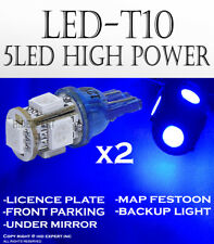 2 pairs T10 5 LED 5050 Chips Blue Color Plug & Play Replace Map Light Bulbs O112
