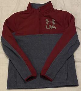 Under Armour ColdGear Boys Gray/Maroon 1/4 Zip Sweatshirt Size YLG (14-16)