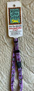 "WINE BOTTLES Print XS Dog Collar 8""- 12"" Yellow Dog Design NEW W/TAG FREE SHIP"