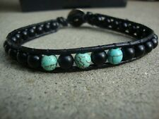 Men's Turquoise and Matte Black Agate 6mm Beaded Wrap Leather Bracelet  USA