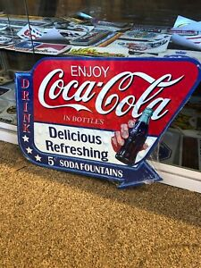 Coca Cola Fountain Repro Metal Sign Diecut